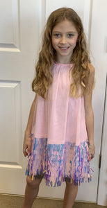 honeypiekids | Halabaloo Halter Iridescent Sequin Hem Dress