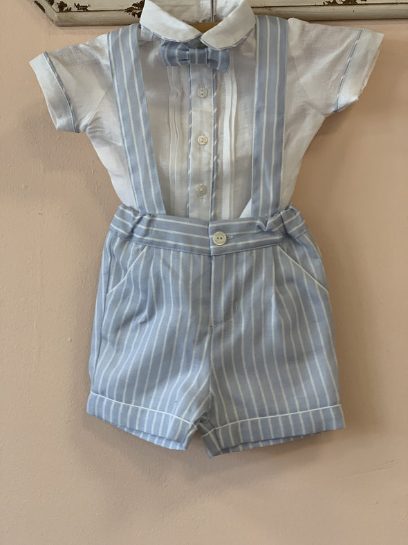 Honeypiekids | Patachou Boys To Toddlers Blue Stripe Woven Shirt and Shorts Set w/ Suspenders