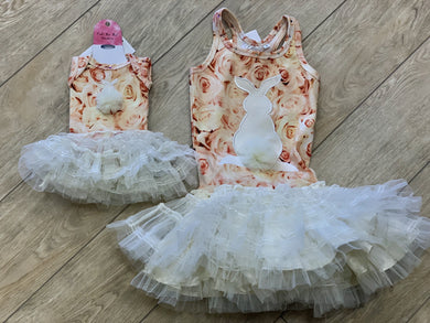 Ooh La La Couture Bunny Champagne Floral Girls Dress AND Matching Doll Dress