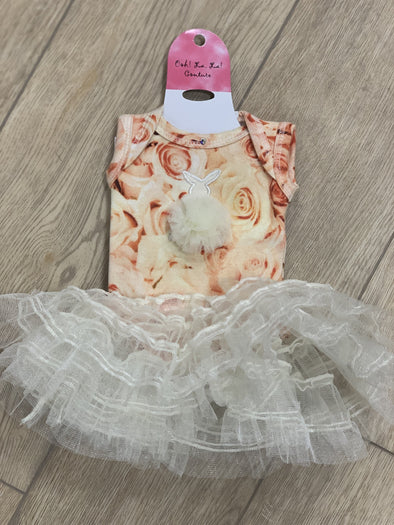 Honeypiekids | Ooh La La Couture Bunny Champagne Floral DOLL Dress