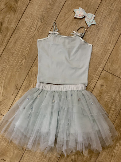 Honeypiekids | Ooh La La Couture Blue 2 Piece Tank and Tulle Skirt Set