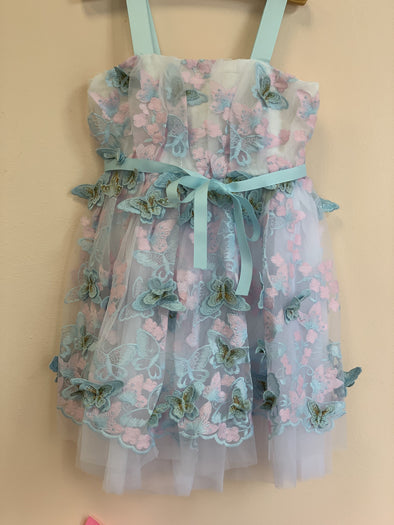 Honeypiekids | Halabaloo Pink and Blue Butterfly Dress