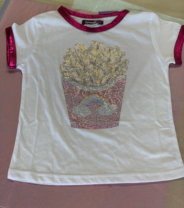 Sparkle By Stoopher Short Sleeve Crystalized French Fries Tee | Honeypiekids