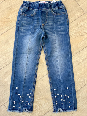 Honeypiekids | MaeLi Rose Blue Denim and Pearls Jeggings