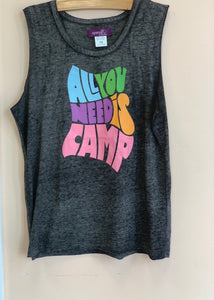 Sparkle by Stoopher Grey All You Need Is Camp Sleeveless T-shirt | Honeypiekids