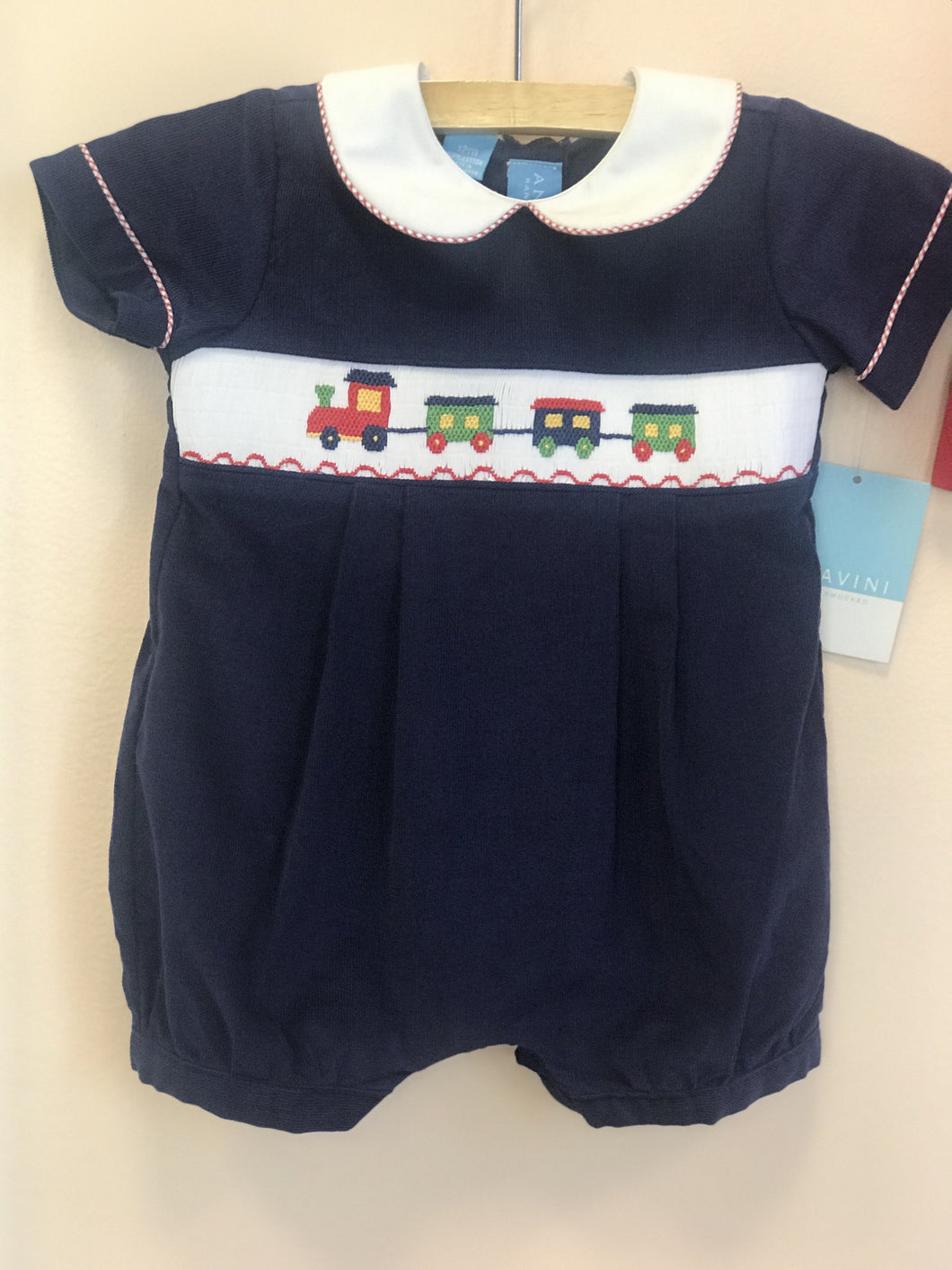 Anavini Blue Train Bubble Corduroy Romper - Honeypiekids.com