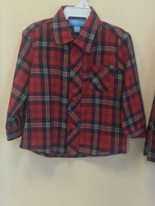 Anavini Boys Red Plaid Button Up Shirt - Honeypiekids.com