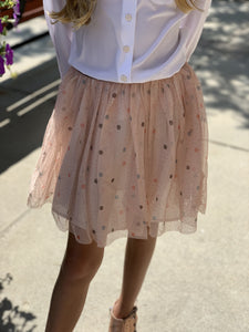 3Pommes Girls Old Pink Tulle Skirt | Honeypiekids