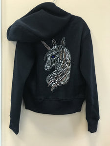 Sparkle by Stoopher Navy Unicorn Bling Crystal Zip up Hooded Jacket | Honeypiekids
