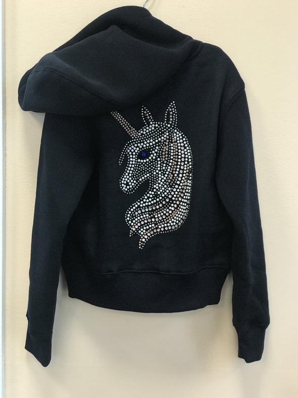 Honeypiekids | Sparkle by Stoopher Navy Unicorn Bling Crystal Zip up Hooded Jacket