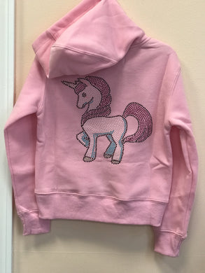 Sparkle by Stoopher Pink Prancing Unicorn Crystal Zip up Hooded Jacket | Honeypiekids