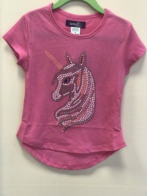 Sparkle by Stoopher Pink Unicorn Bling Short Sleeve T-shirt | Honeypiekids
