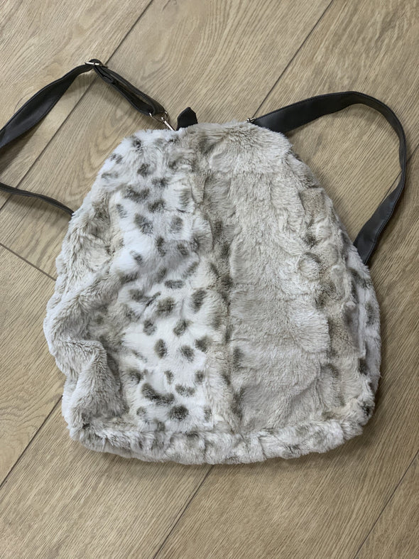 Honeypiekids | Lime Apple Faux Fur Backpack Bag in Leopard Pattern