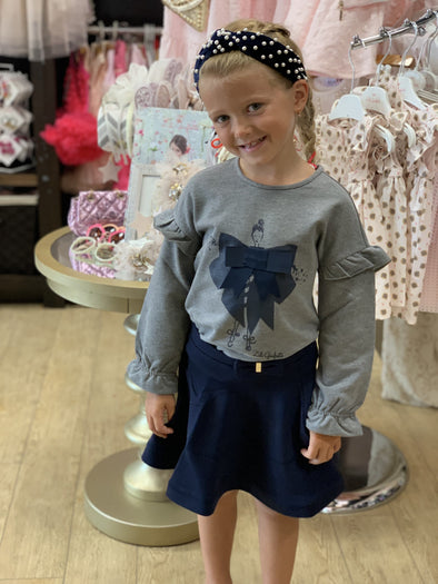 Honeypiekids | Lili Gaufrette Girls Indigo Skirt