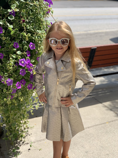 Honeypiekids | Lili Gaufrette Gold Laser Cut Jacket