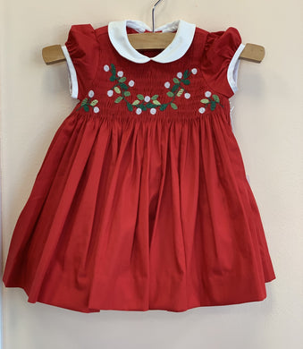 Antoinette Paris SCARLET RED HAND SMOCKED DRESS W/ White Collar