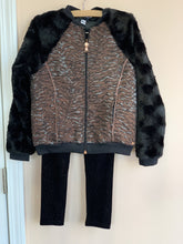 Load image into Gallery viewer, 3Pommes Girls Black & Rose Gold Faux Fur Zip Up Jacket | Honeypiekids