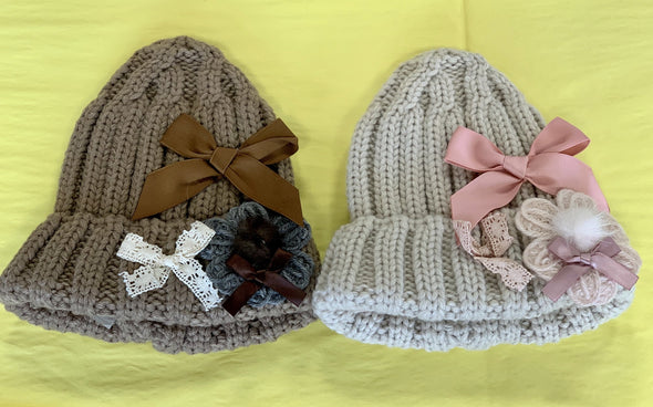 Honeypiekids | Mae Li Rose Knit Bows Winter Hat in 2 Color Choices