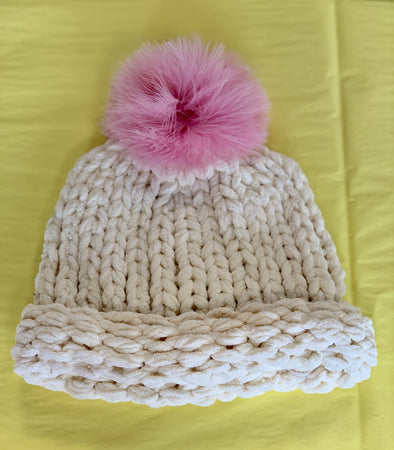 Honeypiekids | MaeLi Rose Cream Knit Winter Hat