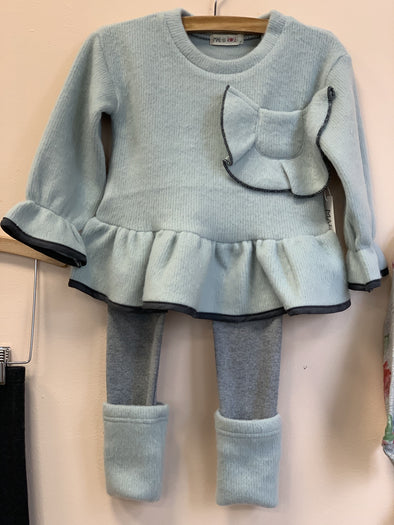Honeypiekids | MaeLi Rose Bow Pocket Flare Fuzzy Sweater in mint