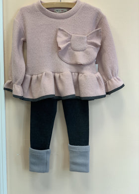 Honeypiekids | MaeLi Rose Bow Pocket Flare Fuzzy Sweater In Pink