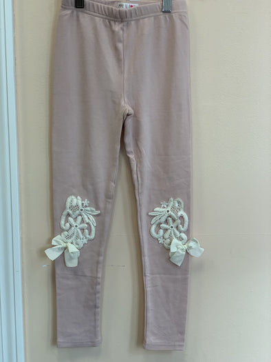 Honeypiekids | MaeLi Rose Dusty Rose Floral Leggings with Ivory Applique