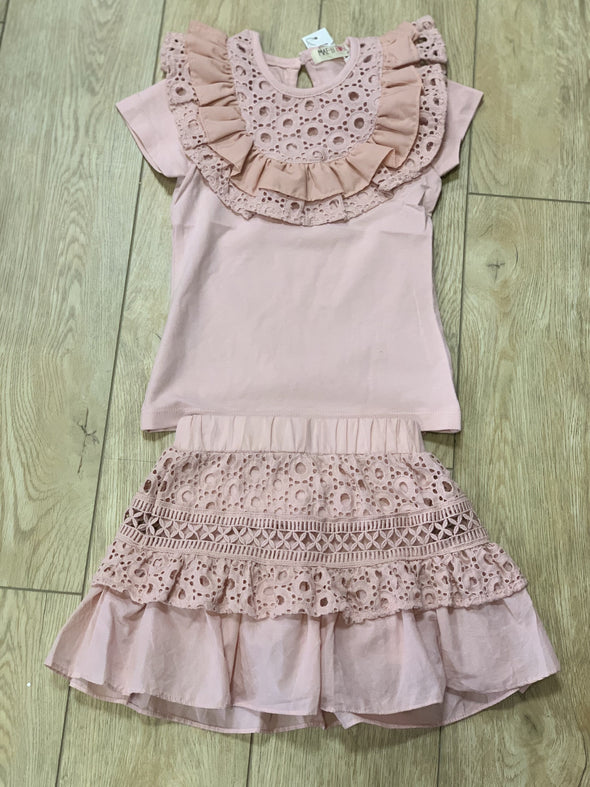 Honeypiekids | MaeLi Rose Blush Eyelet Lace Top
