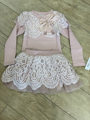Honeypiekids | MaeLi Rose Scallop Lace & Pearl Top & Skirt Set in Dusty Rose