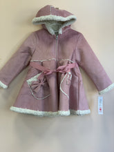 Load image into Gallery viewer, MaeLi Rose Shearling Lined Hooded Bow Dress Coat | Honeypiekids