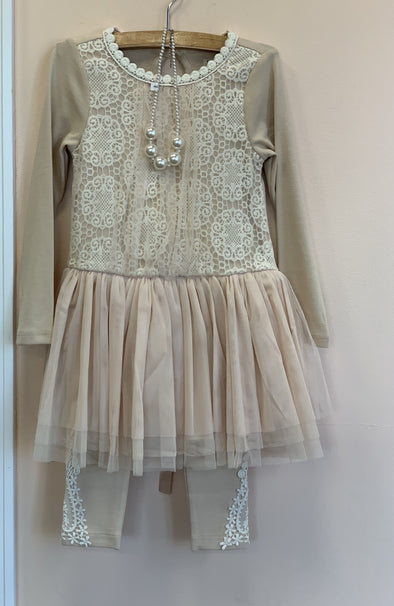Honeypiekids | MaeLi Rose Beige Necklace Dress w/ Leggings