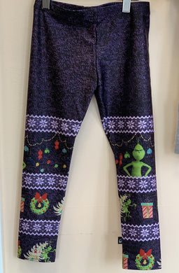 Terez Girls The Grinch Fair Isle Purple Leggings | Honeypiekids