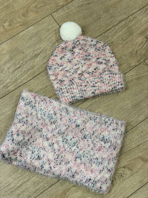 honeypiekids | 3Pommes Super Soft Pink Scarf And Pom Hat Set