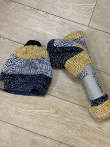 Honeypiekids | 3Pommes Navy and Yellow Knit Scarf And Pom Hat Set