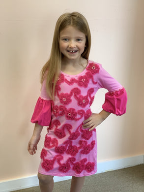 HavenGirl Pink Flower Soutache Sleeve Dress | Honeypiekids