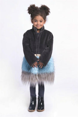 Imoga Freya Long Faux Fur Coat in Ash - Honeypiekids.com