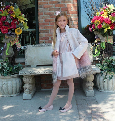 Imoga Freya Long Faux Fur Coat in Powder Pink - Honeypiekids.com