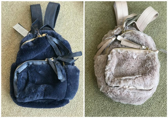 Honeypiekids | Imoga Collection Faux Fur Backpacks in Navy or Lilac