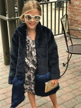 Load image into Gallery viewer, honeypiekids | Imoga Navy Long Faux Fur Jacket