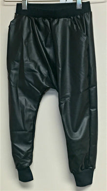 Honeypiekids | Joah Love Black Faux Leather Pants with cuffs