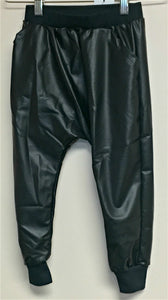 Joah Love Black Faux Leather Pants with cuffs | Honeypiekids
