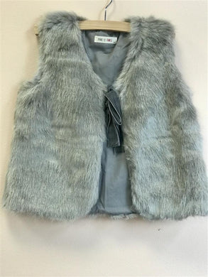 Mae Li Rose Faux Fur Ribbon Tie Vest in Grey - Honeypiekids.com