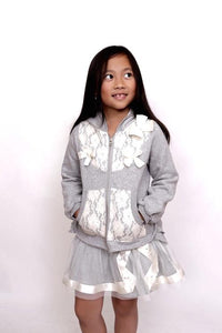 MaeLi Rose Grey Zip Up Lace Hoodie - Honeypiekids.com