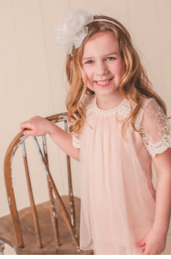 MaeLi Rose Tulle Overlay Top in Blush or Creme - Honeypiekids.com