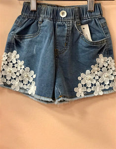 honeypiekids | MaeLi Rose Jean and lace flower shorts
