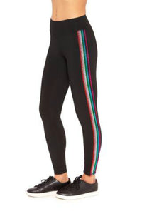 Terez Girls Metallic Rainbow Stripe Leggings | Honeypiekids