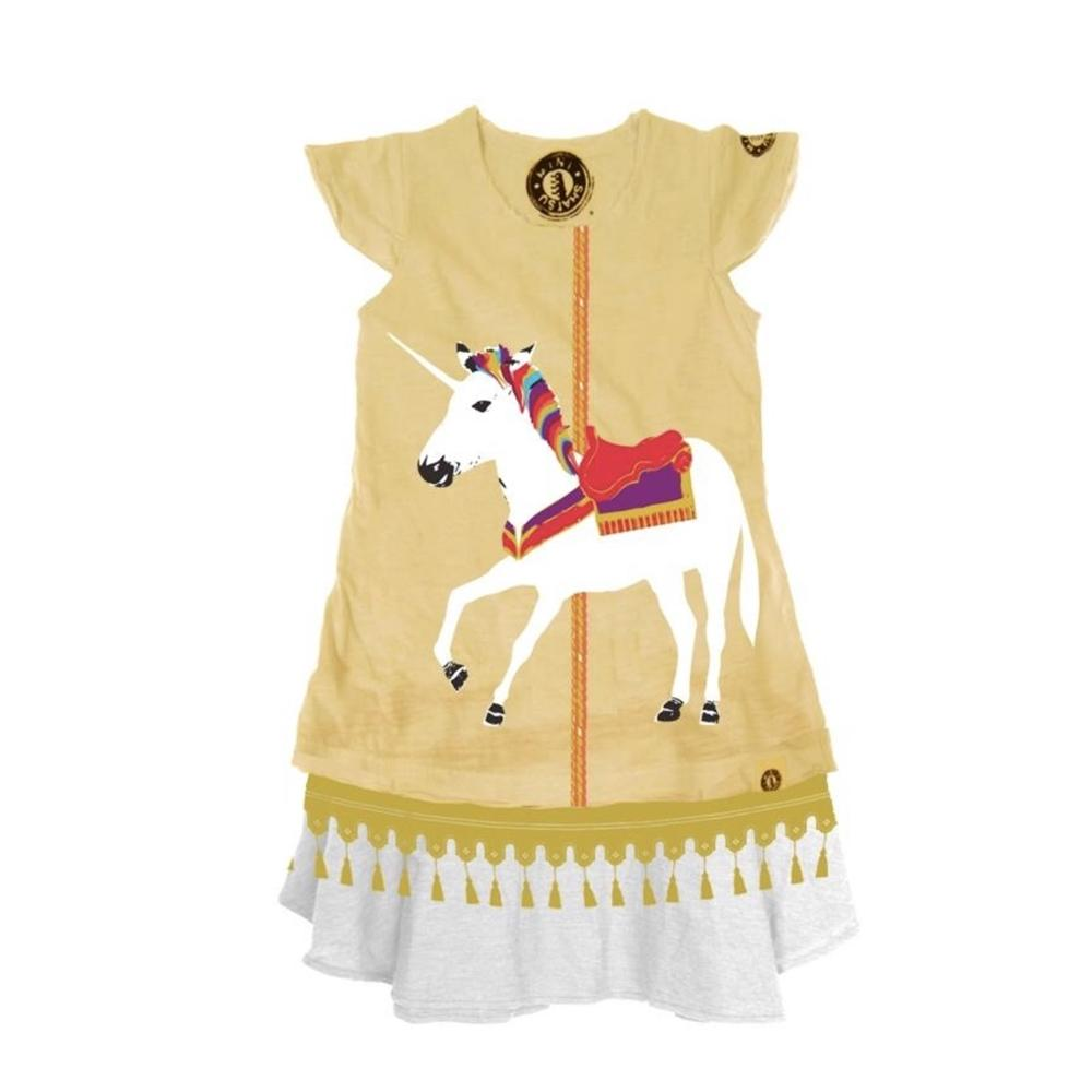 Mini Shatsu Girls White Unicorn Carousel Dress | Honeypiekids
