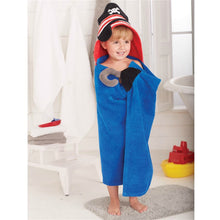 Load image into Gallery viewer, MUDPIE BLUE PIRATE HOODED TOWEL