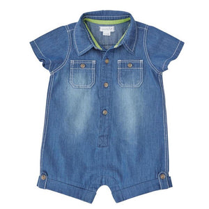 Mudpie Little Boys Denim One Piece Romper | Honeypiekids