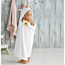 Load image into Gallery viewer, Mudpie White Unicorn Hooded Towel | Honeypiekids