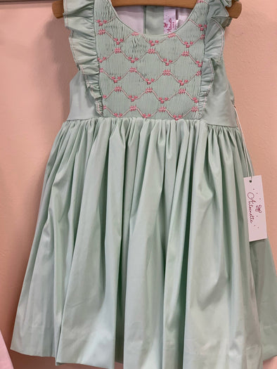 Honeypiekids | Antoinette Paris Netti Aqua Hand Smocked Dress